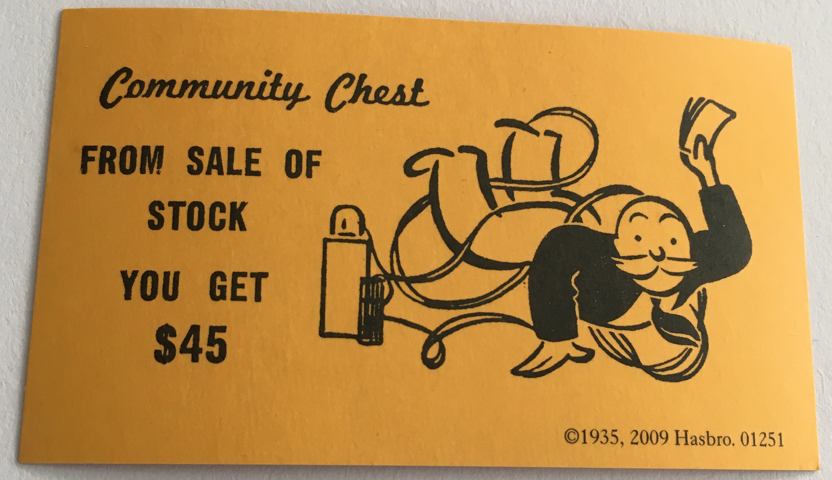 Monopoly Community Chest Card From Sale of Stock you get $45